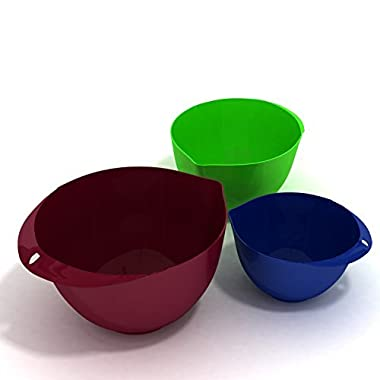 Ultra-light Eco-Friendly 3-Piece Mixing Bowl Set, Burgundy Wine: 6.56 L, Tequila Green: 3.76 L & Navy Blue: 2.10 L by More Cuisine Essentials