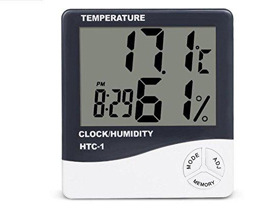HTC-1 デジタル温度計 湿度計 時計 目覚まし・アラーム カレンダー 5機能搭載 大画面 卓上スタンド&壁掛け兼用 ホワイト 温度計 湿度計 デジタル