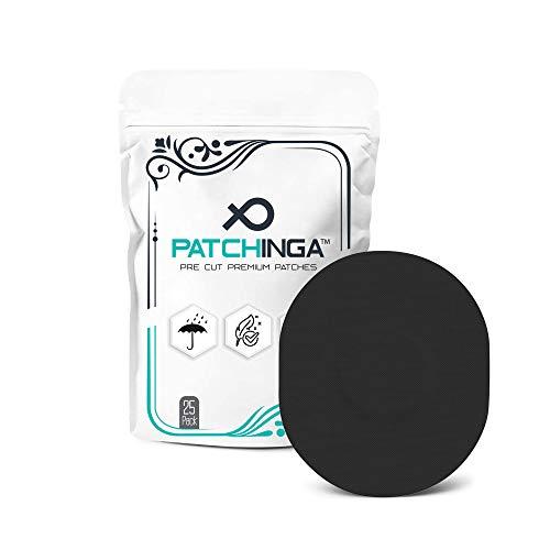 PATCHINGA | 25x Medtronic Guardian Sensor 3 & Enlite/MiaoMiao, CGM Sensor Patch, Fixierung, Tape, selbstklebend, wasserfest, hautfreundlich, haltet bis zu 10 Tage - Erhältlich in 4 Farben (schwarz)