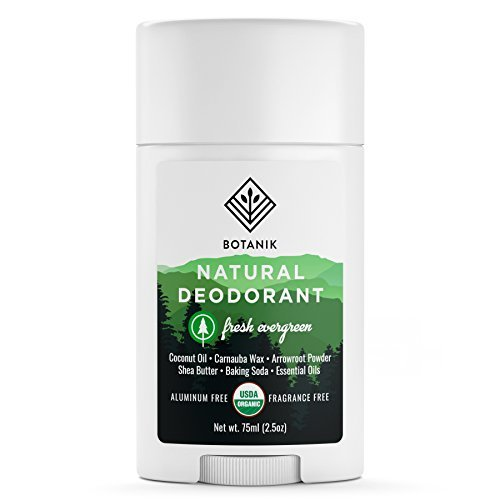 Botanik Natural Organic Deodorant - Aluminum Free Deodorant for Men or Women - Vegan - Fresh Evergreen - 2.5 oz Stick