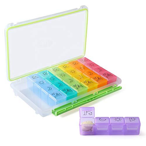 Opret Tablettenbox 7 Tage 4 Fächer, Pillendose insgesamt 28 Fächer, Kleine Pillendose für eine Woche, medikamenten box Feuchtigkeitsbeständigen Bauart