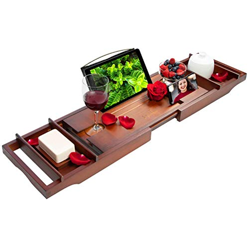 Estala Luxurious Bamboo Bathtub Tray Caddy- Expandable Sides Cherry Wood Bathtub Organizer with Candles, Book, Tablet, Phone, Wine Glass, Soap Holder - Nonslip Bottom - Shower Spa Accessories
