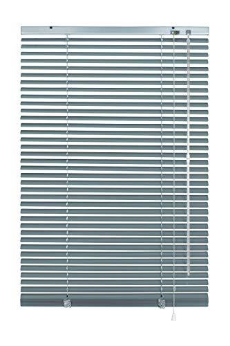 Deco Company - Persiana de aluminio, protección visual, de luz y antideslumbramiento, montaje en pared y techo, aluminio, plateado/azul, 90 x 175 cm
