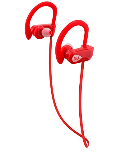 Bluetooth Sport Headphones with Mic offered by PHI Sports & Outdoors. High Definition Sound with Bass, Noise Cancelling, IPX7 Waterproof, Secure Fit, 6-8 Hrs Playtime.Carrying Case Included(Red)