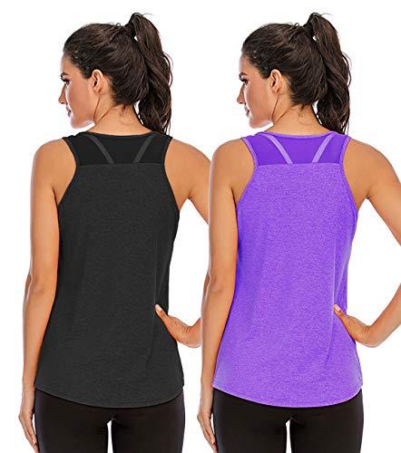 Nekosi Camiseta de tirantes para mujer, para yoga, fitness, correr, sin mangas, de malla en la parte trasera, 01-negro y morado, XL