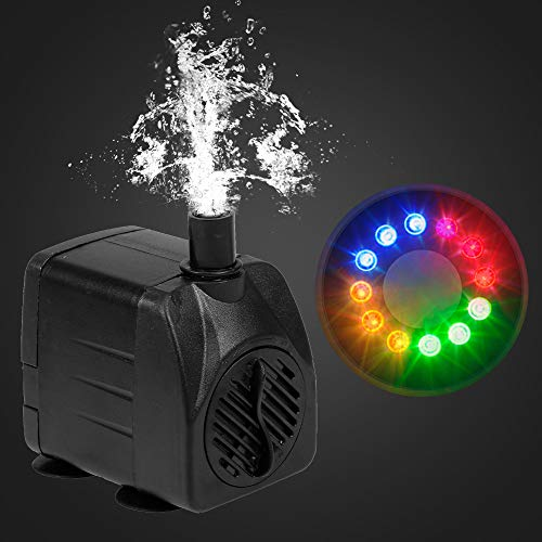 Weehey 15W Ultra-leise USB-Wasserpumpe mit Netzkabel IP68 wasserdicht für Aquarium Brunnen mit 12 LED-Licht