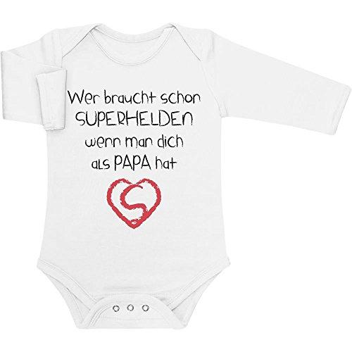 Shirtgeil Wer Braucht SUPERHELDEN Wenn Man Dich Als Papa Hat Baby Langarm Body 6-12 Monate Weiß