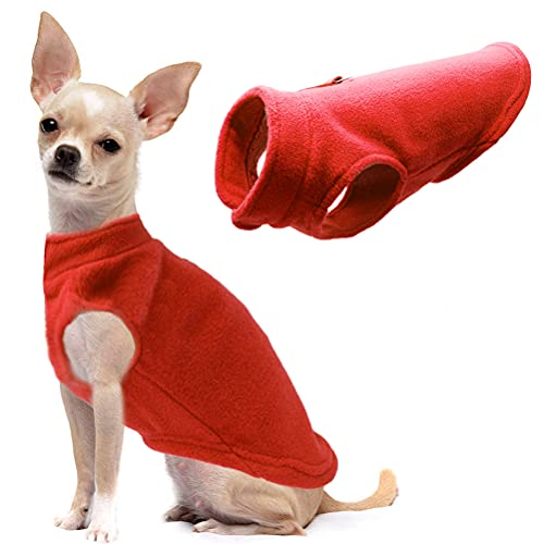 Dog Fleece Vest Soft Winter Jacket Sweater with D-Ring Leash Cold Weather Coat Hoodie for Small Medium Large Dogs Red Small