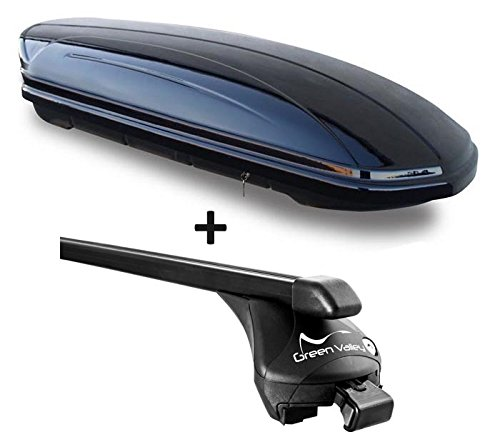 VDP Dachbox schwarz glänzend MAA 460G Auto Dachkoffer 460 Liter abschließbar + Relingträger Dachgepäckträger für aufliegende Reling im Set für Ford Focus III Kombi ab 2011 bis 100kg