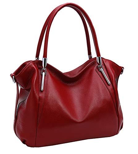 Heshe Women's Leather Handbag Shoulder Bags Work Tote Bag Top Handle Bag Ladies Designer Purses Satchel (Wine)