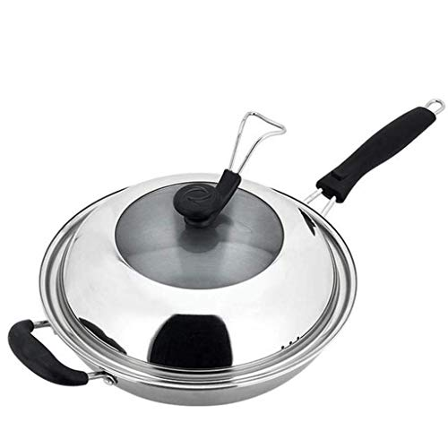 SMEJS Uncoated Wok- Stainless Steel Dome Lid Multi-Ply Clad Fry Pan, Silver (Size : 34cm)