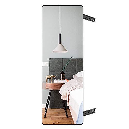 Armario de espejo de cuerpo entero retráctil push-pull Armario de espejo de vestidor giratorio deslizante plegable incorporado con espejo de cuerpo entero retráctil extraíble invisible oro negro 80