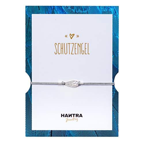 HANTRA Schutzengel Armband Damen mit echtem 925er Sterling (Silber) - handgefertigtes Geburtstagsgeschenk für Freunde und Familie - Dankeschön Geschenke geliefert in edlem Geschenkumschlag