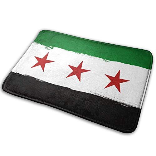 Syrien Flagge Teppiche Fleckenresistente Türmatte, Innen- & Außentür Begrüßungsmatte rutschfeste Bodenmatte für Küche Wäscherei Badezimmer Schlafzimmer Garage Patio