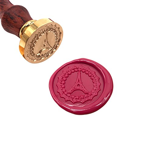 Wax Seal, [Many Patterns Available], Botokon Eiffel Tower Art Wax Seal Stamp with Wooden Handle, Vintage Retro Brass Head Removable Sealing Stamp for Invitations Gift Cards, etc