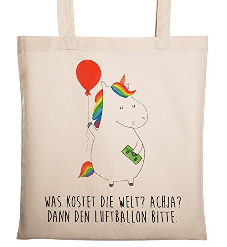 Mr. & Mrs. Panda Shopper, Stofftasche, Tragetasche Einhorn Luftballon mit Spruch - Farbe Transparent