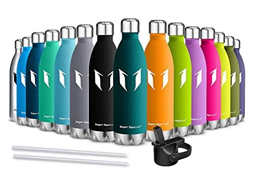 Super Sparrow Borraccia Termica - 750ml - Bottiglia Acciaio Inox Isolamento - Senza BPA - Bottiglie di Paglia -Coperchio di Paglia + Cappuccio Metallico