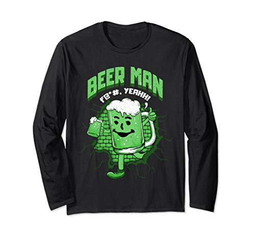 Lustiger Biermann mit Bierglas Alkohol Trinken Brauen Langarmshirt