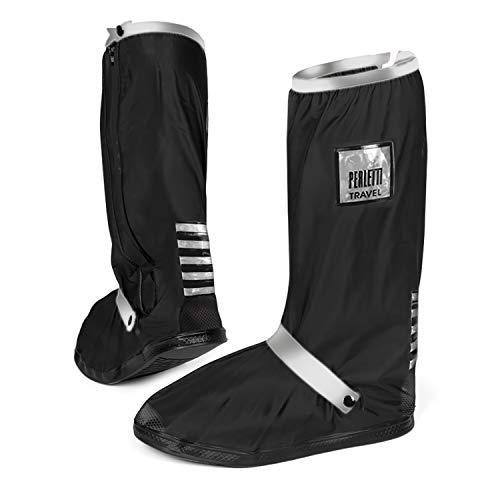 PERLETTI Überschuhe Schwarz Wasserdicht Beständig rutschfest - Schuhüberzieher Wiederverwendbar Verstärkt mit Reflektorstreifen - Hohe Regenschutz Galoschen für Regen Schnee (L (43/45 EU), Silber)