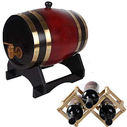 GYPPG Cubo Almacenamiento para el hogar Multiusos Barril Roble, Whisky, Vino, espirituosos, Almacenamiento Ron, 1,5 l, dispensador Whisky Roble Viejo para un Estante para Vino Tinto