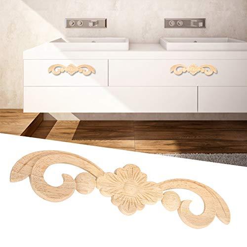 Pangdingk Schöne Möbelzubehör Möbelapplikation, Holzapplikation im europäischen Stil, Blumenholz für die Inneneinrichtung Möbeldekoration Türdekoration Wand