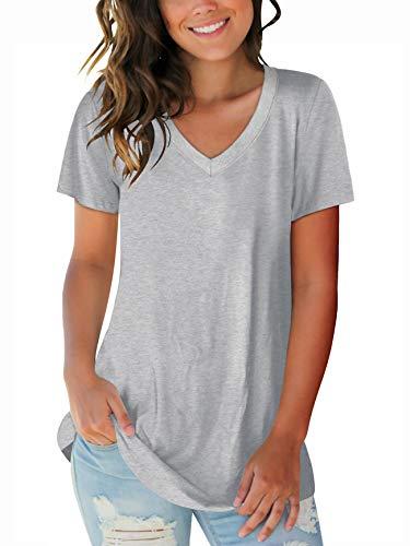 Juniors Casual Tops Short Sleeve V Neck Spring T Shirts Boho Tee Shirts Grey XL