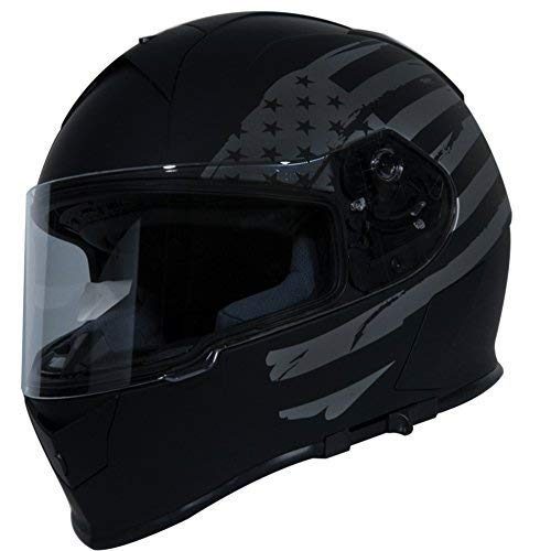 TORC Unisex-Adult T14 Mako Full Face Motorcycle Helmet with Graphic (Flag) (Flat Black, X-Large)