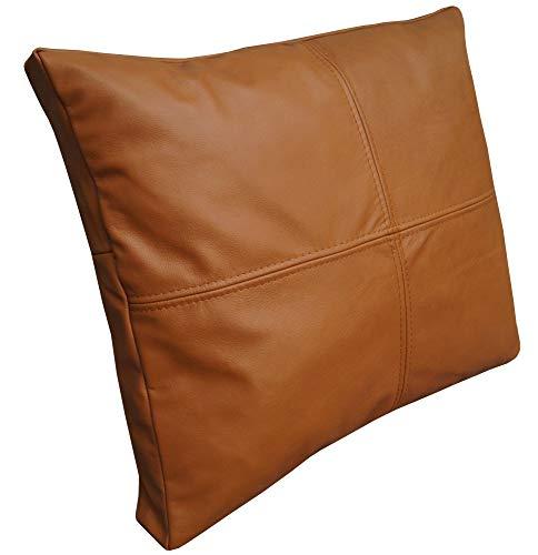 Quattro Meble Cognac kleur echt leer kussen sofa & stoel decoratief kussen sierkussen echt leer rugkussen rundleer echt leer model P&Z 4EL 50 x 60 cm Cenice Cognac