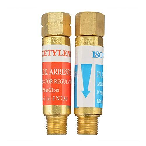 AGPTEK Oxygen Acetylene Flashback Arrestors Set Regulator End 9/16 -18 Threads B Size (Renewed)