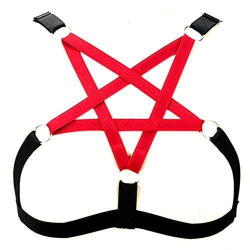 BBOHSS Damen Unterwäsche BH Pentagramm Body Harness Strap BH elastisch verstellbar Punk Gothic Dance Party Kostüm (rot)