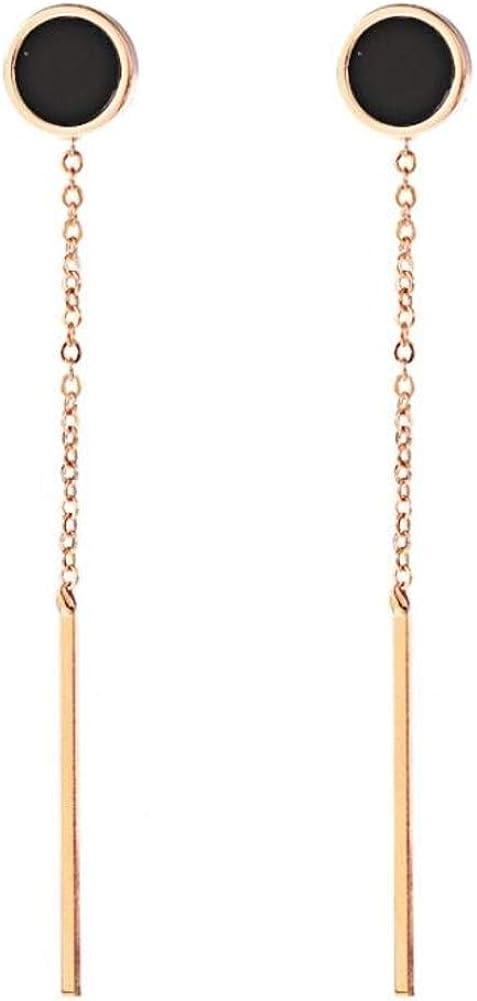 Blingsoul Gold Bar Earline Dangle Earrings - Tiny Black Dot Long Chain Drop Stud Jewelry for Women