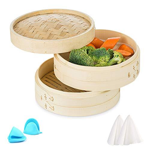 Sziqiqi Vaporera Bambú Vapor Escalonado Cocina Asiática Tradicional 25cm Más Reutilizable, para Albóndigas Tortas/Bollos Al Vapor Verduras Pescado Arroz Tamales de Pollo, 2 Niveles