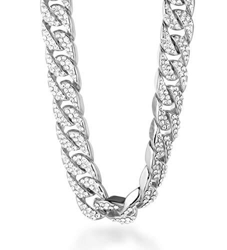 Halukakah  Bling  Uomo Platino Placcato Set di Diamanti Artificiali Grande Catena Cubana Collana 18'(45cm) con Pacco Regalo Gratuita