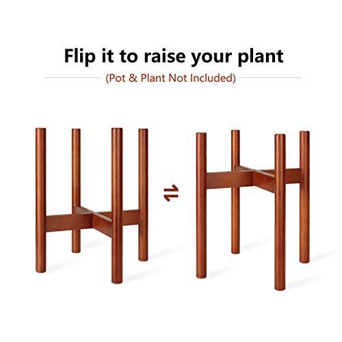 Mkono Plant Stand Mid Century Wood Flower Pot Holder (Plant Pot NOT Included) Potted Stand Indoor Display Rack Rustic Decor, Up to 10 Inch Planter, Brown