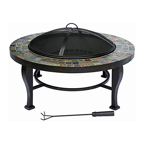 JIACTOP Outdoor Fire Pit Large Bonfire Wood Burning Patio Backyard Firepit for Outside with Round Spark Screen