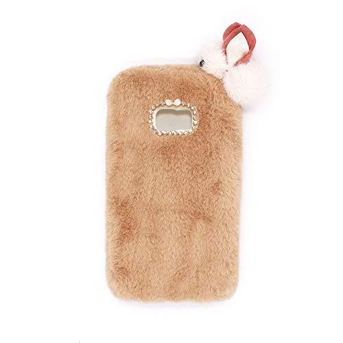 YHY Lindo Conejito para Samsung Galaxy S7 Elegante Funda Peluda de Silicona Teléfono Móvil de TPU Caqui