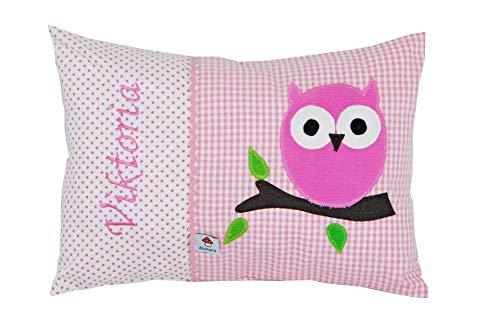 Glückspilz Namenskissen Babykissen I Eule I mit Namen personalisiert I Geschenk zu Geburt, Taufe oder Geburtstag (Pink)