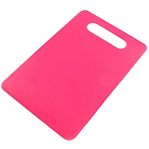 everd1487HH 29cm x 19cm Nonslip Plastic Corrosion-Resistant Chopping Board Food Cutting Block Mat Tool Kitchen Cook Supplies with Hanging Hole Magenta