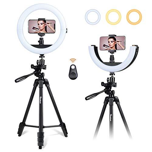 Inkeltech Selfie Ring Light - 10 inch 2700K/4600K/6500K Dimmable LED Light Ring with Tripod and Phone Holder, Lighting Kit for Makeup, Tik Tok, Vlog, YouTube Video
