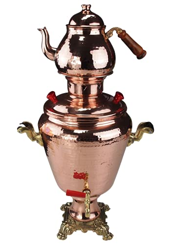 Outdoor Cobre Samowar 5 L para madera o carbón + tetera de cobre 1 L