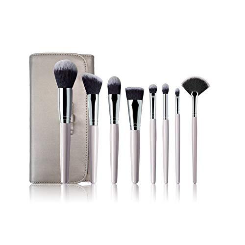 Huit brosses avec manche en bois nacré outils de maquillage débutant, poignée professionnelle Premium Synthetic Foundation Blending Blush Concealer Eye Face Cosmetics Brushes Kit avec sac