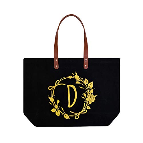 ElegantPark Monogrammed Gifts for Women Personalized Gifts Bag Monogram D Initial Bag Tote for Wedding Bride Bridesmaid Gifts Birthday Gifts Teacher Gifts Bag with Pocket Black Canvas