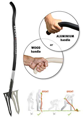 EFEKT ergonomische Spatengabel | Nur 1,9 kg professionelles Gerät für die Gartenarbeit, Landwirtschaft usw. | Innovativen 142 cm ergonomischer L-Griff mit Thermogriff |HARDOX (Aluminium e32)