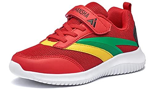 Mishansha Sportschuhe Kinder Jungen Laufschuhe Atmungsaktiv Joggingschuhe Mädchen Mesh Sneaker Rot 31