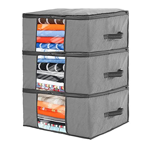 Gbdilo Foldable Storage Bag Organizers, Large Clear Window & Carry Handles, Great for Clothes, Blankets, Closets, Bedrooms, and More 3-Pack