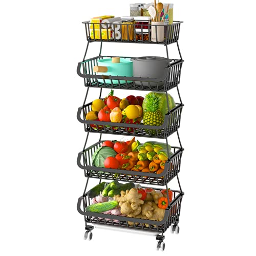 FANWU 5 Tier Fruit Basket Stand, Fruit and Vegetable Storage Cart, Wire Storage Basket with Wheels, Metal Stackable Snack Organizer, Potatoes Onions Produce Storage Bins Rack for Kitchen, Pantry…