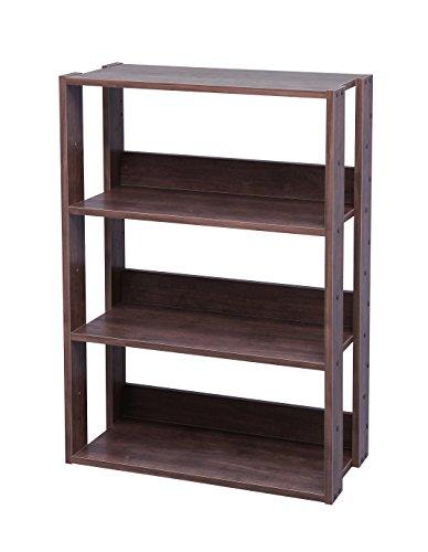 Marca Amazon - Iris Ohyama OWR-600 - Estante abierto de madera con 3 compartimientos/armario 3 estantes, madera, marrón (roble marrón), 60 cm