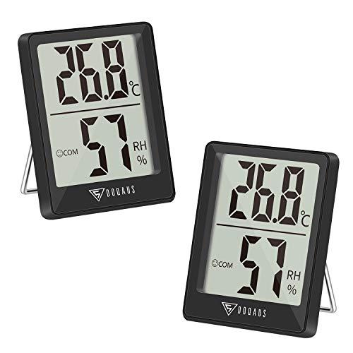 DOQAUS Thermometer Innen, 2 Stück Thermo-Hygrometer Luftfeuchtigkeitsmessgerät innen Hygrometer Feuchtigkeit Digital Raumthermometer mit Hohen Genauigkeit, für Innenraum, Babyraum, Wohnzimmer, Büro