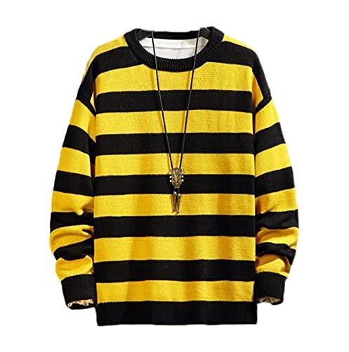 Suéter para Hombre, suéteres a Rayas de Manga Larga Informales para Hombre, Jersey de Punto de Gran tamaño, suéter de Moda Otoño Invierno, jerséis, Tops (Color : Yellow, Size : XXL)