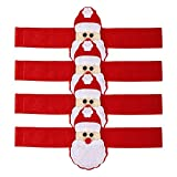 VALICLUD Weihnachtsmann Serviettenringe Weihnachten Serviettenhalter: 4 Stücke Stoff Serviettenschnalle Stoffservietten Ringe Streudeko Streuteile für Tischdeko Adventsdeko Winter Xmas Deko
